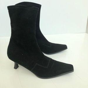 Stuart Weitzman black velvet heel boots